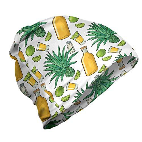 ABAKUHAUS Agave Gorro Unisex, Cactus Sector de limón Tequila, Tela Suave 100% Microfibra Estampada Ideal para Actividades al Aire Libre, Mostaza Blanca