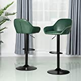 Glitzhome Adjustable Swivel Bar Stools Set of 2 with Back Support Leather Seat Mid Century Leatherette Dining Chairs,Hunter Green