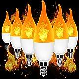 YEAHBEER E12 Flame Bulb LED Candelabra Light Bulbs,3 Modes Flame Lights Bulbs,1.2 Watt Warm White LED Chandelier Bulbs- for Halloween Decoration Festival/Hotel/ Valentine's Day Decoration(6 Pack)