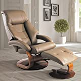 Mac Motion Chairs Collection by Mac Motion Mandal Top Grain Leather Oslo Recliner and Ottoman, Sand (tan)