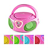 auna Roadie • Kids Portable Boombox with CD Player and Radio • LED Light • AM/FM Radio • Bluetooth • MP3/CD Player • Aux-Input • Headphone Jack • Pink
