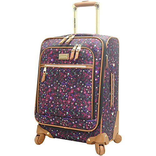 Steve Madden Designer Luggage Collection - Lightweight Softside Expandable Suitcase for Men & Women - Durable 20 Inch Carry On Bag with 4-Rolling Spinner Wheels (Dark Purple)
