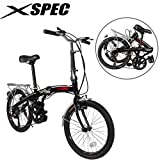 Xspec 20' 7 Speed City Folding Mini Compact Bike Bicycle Urban Commuter, Black
