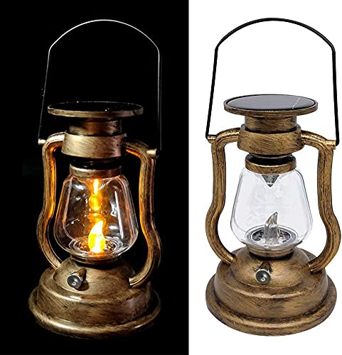 LED Vintage Flickering Solar Haning Candles Light Rechargeable Retro Oil Lamp Lanterns Portable Tent Garden Camping Tree Wall Nightlight Outdoor Decoration