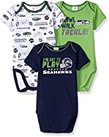 Bodysuits feature expandable lap shoulder necklines and high-positioned bottom snaps for easier changes features officially licensed team logos Machine wash and tumble dry. Cotton and poly interlock Contains 3 Bodysuits Great Baby Shower Gift
