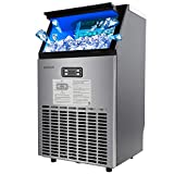 ROVSUN Built-in Stainless Steel Freestanding Ice Maker, Make 100/150lbs 24h, 24lbs Storage,Under Counter/Commercial Automatic Ice Machine for Restaurant Bar Cafe