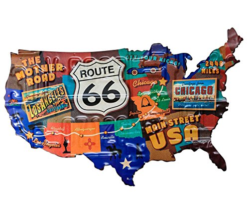 aubaho Blechschild Route 66 Karte Amerika USA Los Angeles Magnettafel Antik-Stil