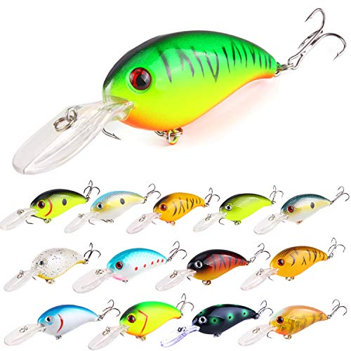 ZWMING Bass Crankbait Fishing Lures Set, Diving Wobblers Artificial Bait with 3D Eyes, Lifelike...