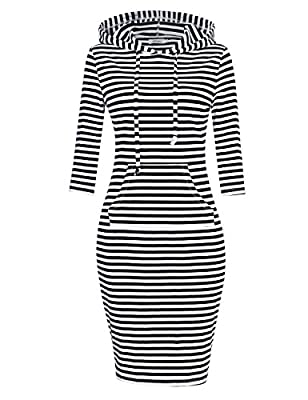 STYLE -- 3/4 Long Sleeve Short Sleeve Stripe Pocket Knee Length Pullover Hoodie Dress. SUITABLE -- Leisure / Casual , Running , Jogging , Dating , Sporting , Working. MATERIAL -- 95% Cotton, 5% Spandex. Soft and Comfortable. TIPS -- Please Reference ...