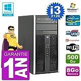 HP PC 6300 MT Intel Core I3-2120 RAM 8Go Disque 500Go Graveur DVD WiFi W7 (Reconditionné)