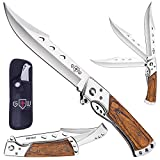 Grand Way Hunting Folding Knife with Rosewood Handle - Tactical EDC Pocket Knife - Foldable Long...