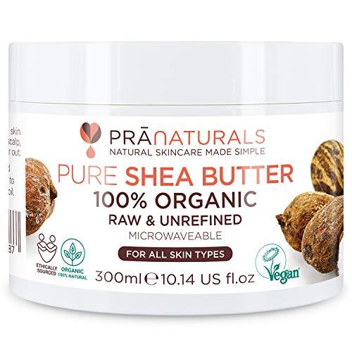 PraNaturals Manteca de Karité Hidratante 100% Orgánica 300ml, Protección UV para Todo Tipo de Piel - Hidrata y Repara Cabello