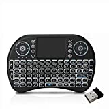 Loopan i8 Mini Wireless Keyboard and Mouse(Touchpad with Backlight) with Smart Function for Smart Tv, Android Tv Box, Raspberry-Pi, Android & iOS Devices (Black)