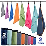 "HOEAAS 2 Pack Microfiber Travel & Sports & Beach Towel-S (32""x16""x2)-Lightweight, Compact, Super Absorbent, Fast Dry for Outdoor, Yoga, Camping, Gym+ Buckled Carry Bag(S, Mint)"