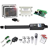 TOPENS A8S Automatic Gate Opener Kit Heavy Duty Solar Single Gate Operator for Single Swing Gates Up to 18 Feet or 850 Pounds Gate Motor Solar Panel