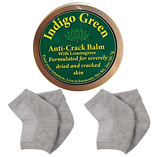 Anti Crack Balm Silicone Heel Sock Set for Dry Cracked Heels and Feet (Lemongrass, 2 Oz)