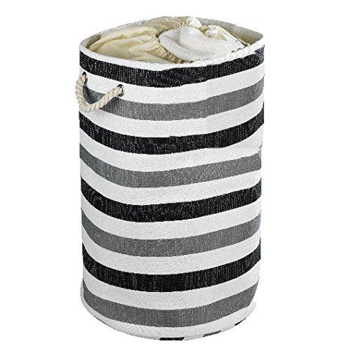WENKO 35511100 Wäschesammler Metropolitan rund - Wäschekorb, Fassungsvermögen 75 L, Papierstoff, 40 x 60 x 40 cm, Grau