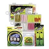 Trout Magnet Ultimate Bundle - 85 Piece Neon Grub Kit, 350 yd Trout S.O.S. Spool, 100% Fluorocarbon Phantom Leader Line, and 4 E-Z Trout Floats