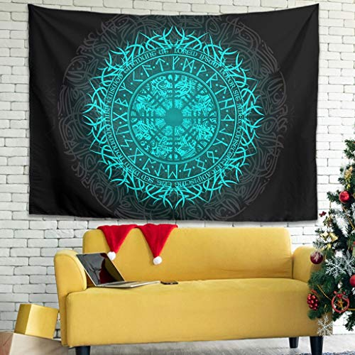 NE ZHA Viking Victory Or Valhalla Pattern Printing Wall Art Hippie Bedsheet Large - for Bedroom white3 59x59inch