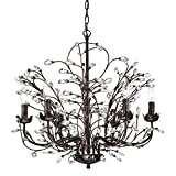 Edvivi 6-Light Antique Copper Chandelier with Vines and Crystals | Glam Lighting