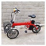 MMJC Adulte Pliable Tricycle Électrique, Trois Roues Inverted Véhicule Électrique Multi-Fonction One-Button Cruise Portable Confortable Non-Slip Scooter Électrique,Rouge