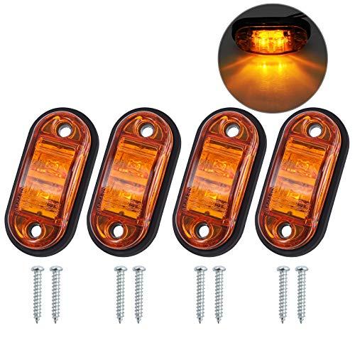 Justech 4 x Luci di Posizione Luci Laterali Luci di Posizione Indicatore LED Fanali Posizione Universale per 12V 24V Auto Rimorchio Camion Autocarro Caravan Bus - Colore Ambra
