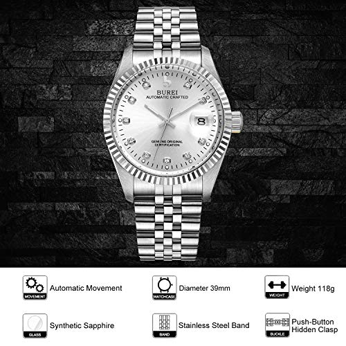 BUREI Men's Automatic Watches Mechanical Wrist Watch Date Display with Sapphire Crystal Rhinestone Markers Stainless Steel Band