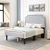 Upholstered Platform Bed Frame Queen Size with Headboard and Footboard,Mattress Foundation with Wood Slat Support,Light Grey