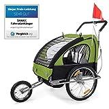 SAMAX Remorque Vélo convertible Jogger 2en1 en Vert/Noir - Silver Frame
