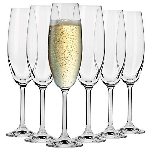 Krosno Bicchieri Calice Flute Champagne Spumante Vetro | Set di 6 | 200 ML | Collezione Venezia | Ideale per Casa Ristorante Feste e Ricevimenti | Adatto alla Lavastoviglie e al Forno a Microonde