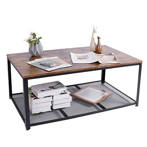BAKAJI Tavolino Divano Tavolo caffè da Salotto Rettangolare Design Moderno Industriale Struttura in Metallo con Ripiano Inferiore Piao d'appoggio in Legno MDF Scuro Dimensione 106 x 60 x 45 cm
