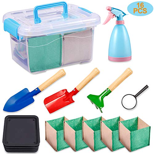 KODATEK Kids Gardening Set, for Real Planting or Sand Gardening 16PCS Contain: Sprayer, Shovel, Spade, Rake, Magnifier, Tray, Planting Bag, Gardening Tool Suitcase Little Gardener Tool, Amazing Gift