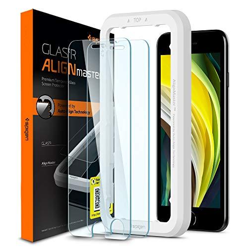 Spigen AlignMaster ガラスフィルム iPhone SE 2020、iPhone 8、iPhone 7 用 ガイド枠付き iPhone SE 第2世...