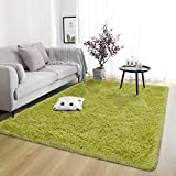 Rostyle Super Soft Fluffy Area Rugs for Bedroom Living Room Shaggy Floor Carpets Shag Christmas Rug for Girls Boys Furry Home Decorative Rugs, 4 ft x 6 ft, Green