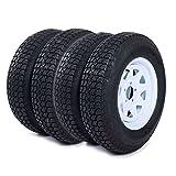MOTOOS 4pcs 205 75 15 Trailer Tire and Rim 205/75-15 with Bias 15' White Spoke Wheel, 5 Lug On 4.5' Center Hole