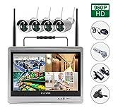 SIBO® 4 canaux 960P sans fil Caméras IP Système d'accès à distance facile IR jour / vision nocturne de l'appareil photo étanche, portable 12 pouces Moniteur LCD HD WIFI NVR KIT EDS-WIFILCD12-960P