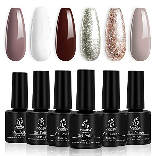 Beetles Holiday Gel Nail Polish Set - 6 Colors Burgundy Red Champagne Gold Gel Polish Kit Snow White Nude Grey Christmas Nail Gel Polish Soak Off LED Gel Nail Manicure Kit DIY Home New Year Gift Box