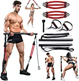 VWMYQ 180LBS Adjustable Pilates Toning Bar Kit with Resistance Bands, Anti-Break, Full Body Dynamic Workout, Home Portable Gym