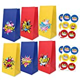 24 Pack Cartoon Party Supplies Goodie Bags with Thank You Stickers, Cartoon Birthday Favor Bags for Theme Party Decorations Boys and Girls Birthday Party Treat Bags Theme Birthday PartyParty Bags