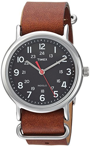 Timex Weekender 38mm Quartz Analog Watch with Leather Strap, Brown, 20 (Model: TW2R63100)