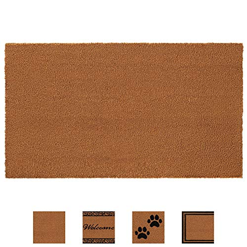 Gorilla Grip Premium Durable Coir Door Mat, 57x24, Thick Heavy Duty Coco Doormat for Indoor Outdoor, Easy Clean, Low Maintenance, Low-Profile Rug Mats for Entry, Patio, High Traffic Areas, Solid