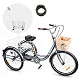 Viribus Adult Tricycle Three Wheel Trike Bike Single Speed Hybrid Cargo Cruiser with Removable Wheeled Basket for Shopping or Dogs Dustproof Bag Exercise Bike for Men Women Bell (Grey, 26 Inch)