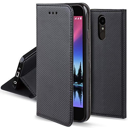Moozy Funda para LG K4 2017, Negra - Flip Cover Smart Magnética con Soporte y Cartera para Tarjetas