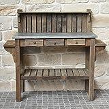 chemin_de_campagne Style Ancienne Table de Rempotage de Jardinier Bois Zinc 142...