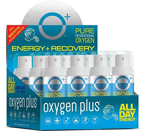 Oxygen Plus 99.5% Pure Recreational Oxygen Cans Filled in FDA-Registered Facility - Restore Oxygen Levels w/Oxygen Supplement, 1.55 LTR Portable Oxygen Canisters for Natural Energy (O+ Mini 12-Pack)