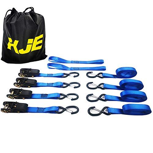 Ratchet Tie Down Straps (2 Pack) - 1 in x 15 ft   AAR Certified Break Strength (1,823 lbs)   Cargo Tie Down Set with (2) Utility Ratchet Straps, (2) Bundling Straps, and Accessories KJE