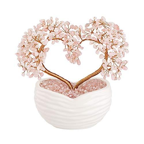 Jovivi Rose Quartz Crystal Heart Money Tree Healing Gemstone...