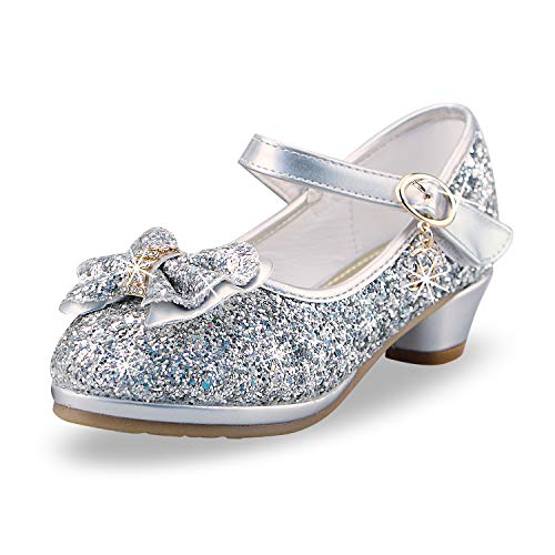 anbiwangluo Zapatos de Lentejuelas de Niña Zapatos de Tacón Alto de Princesa Zapatos de Fiesta de Niños 25 EU/Tamaño de la Etiqueta 26 Plata