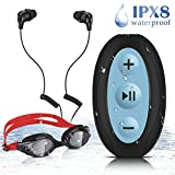 Waterproof MP3 Player for Swimming, AGPTEK 8GB Clip MP3 Player with IPX8 Waterproof Headphones and Goggles, Upgraded Version