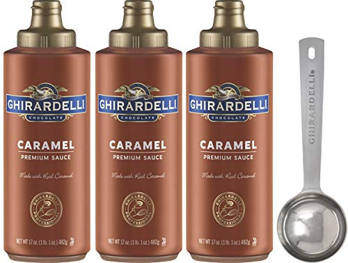 Ghirardelli Caramel Sauce Squeeze Bottle, 17 Ounce (Pack 3) - with Limited Edition Measuring Spoon